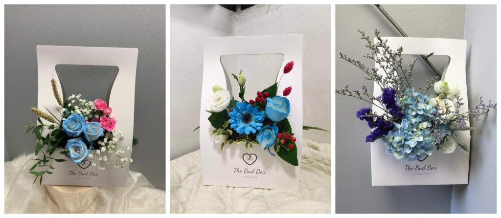 blue graduation flowers