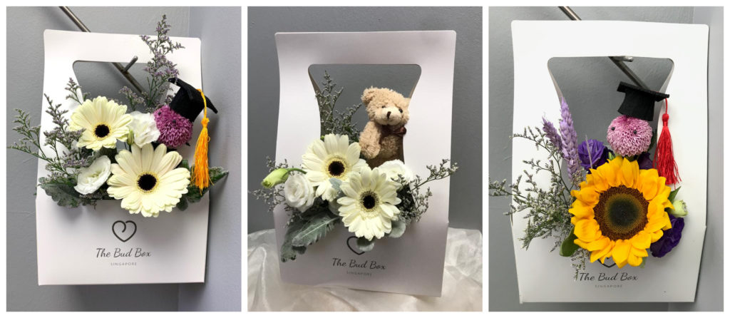 Cream Gerbera and Sunflower Graduation Box
