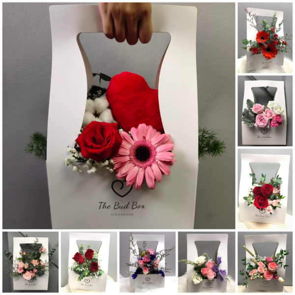 red & pink freestyle bloom box - the bud box flowers in a box