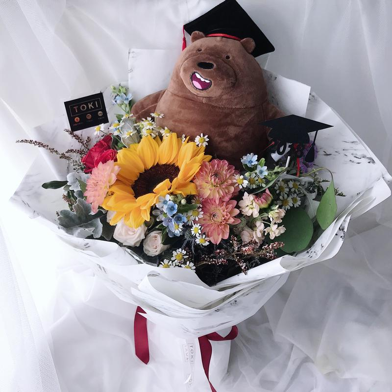Graduation bouquet for him - Toki Singapore