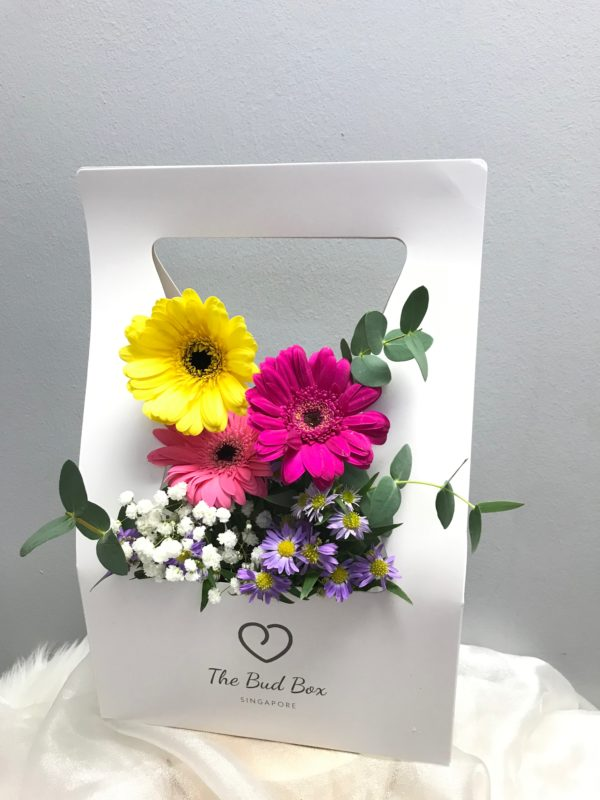 Gerbera Daisy Bud Box - Flowers in a Box | Florist Singapore Cheap