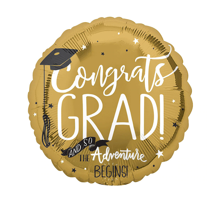 golden round graduation balloon