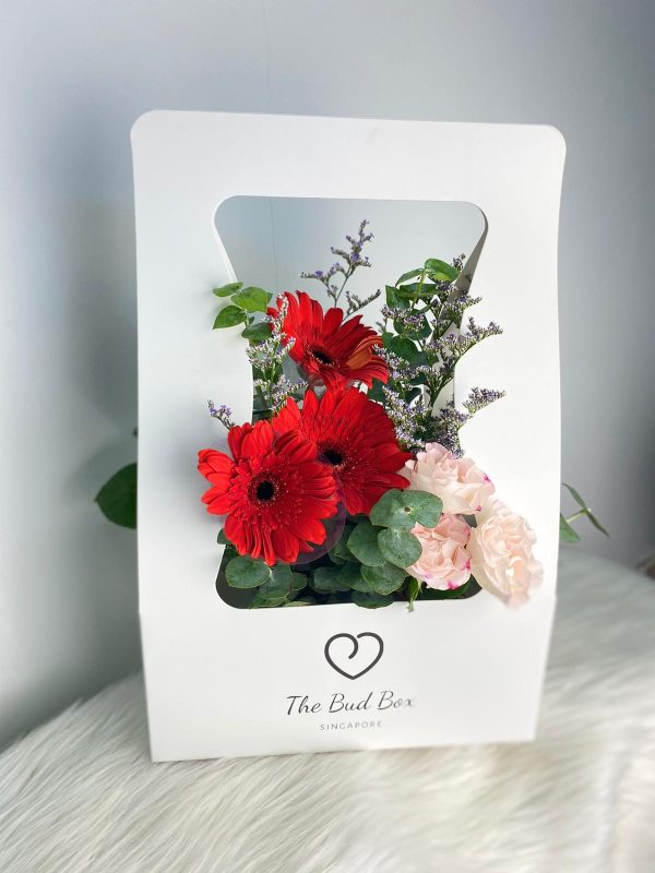Red Gerbera Daisy Flower Box